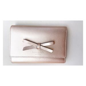 SALE 🔥 Kate Spade Metallic Bow Tri-Fold Wallet